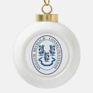 Connecticut State Seal - Ceramic Ball Christmas Ornament