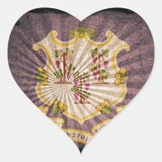 Connecticut sunburst flag souvenir heart stickers