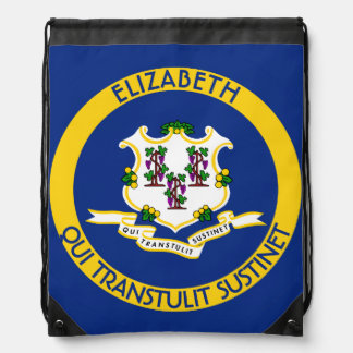Connecticut The Constitution State Personal Flag Drawstring Bag