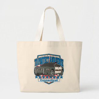 Connecticut To Protect and Serve Police Car Large Tote Bag