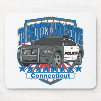 Connecticut To Protect and Serve Police Car Mouse Pad