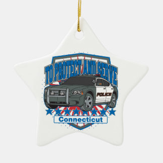 Connecticut To Protect and Serve Police Car Christmas Tree Ornament