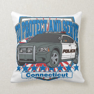 Connecticut To Protect and Serve Police Car Pillow