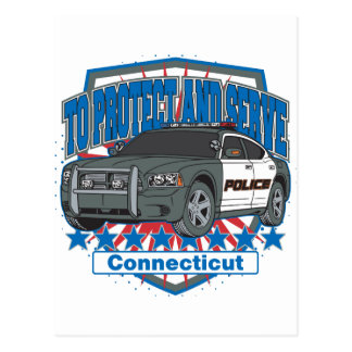 Connecticut To Protect and Serve Police Car Postcard