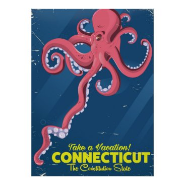 USA Themed Connecticut USA Octopus vintage travel poster