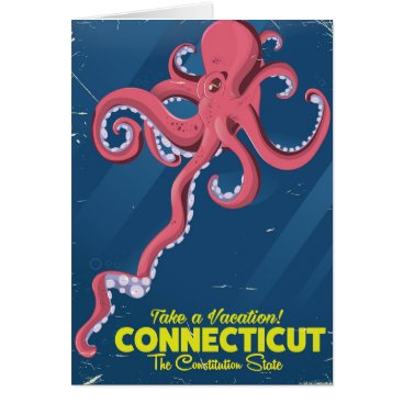 USA Themed Connecticut USA Octopus vintage travel poster Card