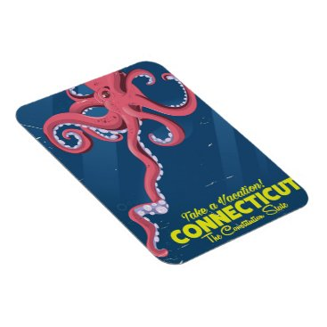 USA Themed Connecticut USA Octopus vintage travel poster Magnet
