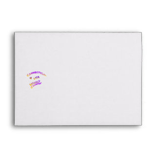 Connecticut usa world country, colorful text art envelope