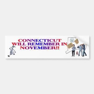 Connecticut Will Remember In November! Car Bumper Sticker