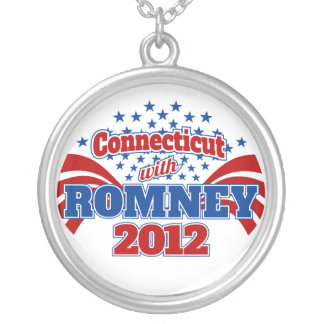 Connecticut with Romney 2012 Round Pendant Necklace