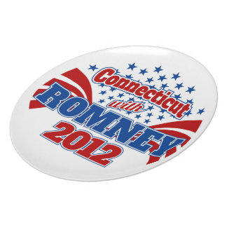 Connecticut with Romney 2012 Party Plate