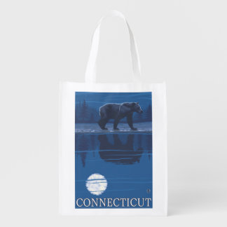 ConnecticutBear in the Moonlight Reusable Grocery Bags