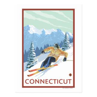ConnecticutDownhill Skier Scene Postcard
