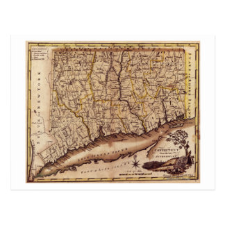 ConnecticutPanoramic MapConnecticut 2 Tarjetas Postales