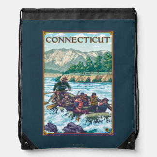 ConnecticutRiver Rafting Scene Drawstring Bag