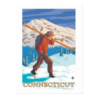 ConnecticutSkier Carrying Skis Postcard