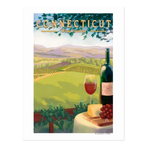 ConnecticutWine Country Scene Postcard