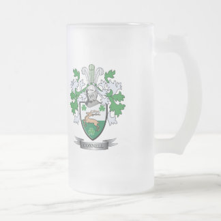 Connell Coat of Arms Frosted Glass Beer Mug