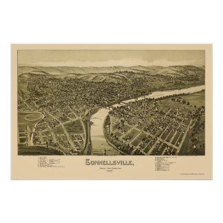Connellsville, mapa panorámico del PA - 1897 Póster