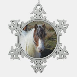 Connemara Pony Snowflake Pewter Christmas Ornament