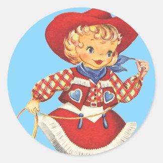 Connie Cowgirl Classic Round Sticker