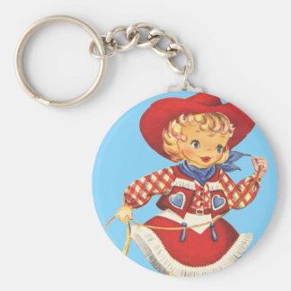 Connie Cowgirl Basic Round Button Keychain
