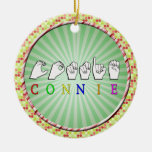 CONNIE FINGERSPELLED NAME ASL CERAMIC ORNAMENT