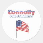 Connolly para la bandera americana patriótica del pegatina redonda