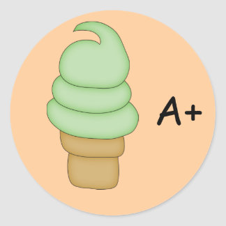 Cono #1 de la torsión del helado etiqueta redonda
