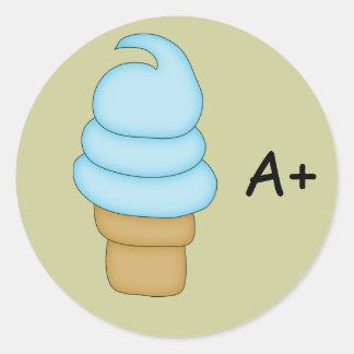 Cono #2 de la torsión del helado pegatina redonda