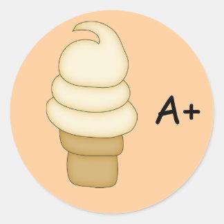 Cono #3 de la torsión del helado pegatina redonda