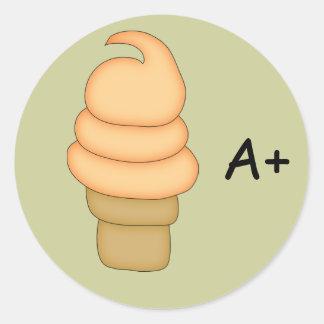 Cono #4 de la torsión del helado pegatina redonda