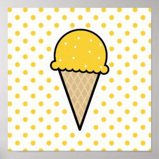 Cono de helado ambarino amarillo impresiones