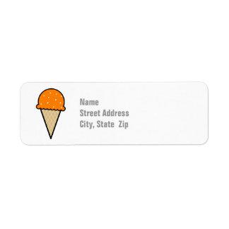 Cono de helado anaranjado etiqueta de remite
