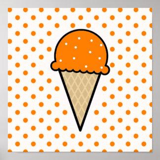 Cono de helado anaranjado poster