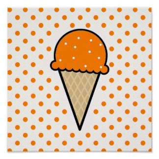 Cono de helado anaranjado póster