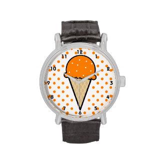 Cono de helado anaranjado relojes de pulsera