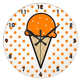 Cono de helado anaranjado reloj redondo grande