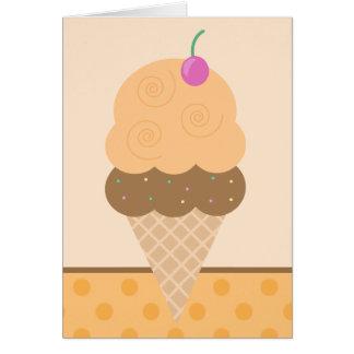 Cono de helado anaranjado tarjeta de felicitación