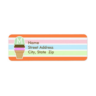 Cono de helado; Arco iris de neón retro Etiqueta De Remitente