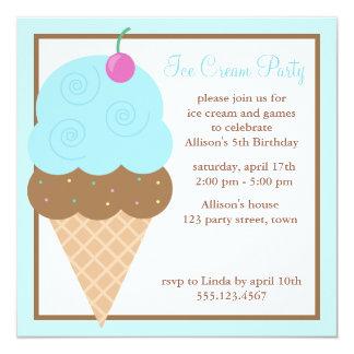 """Cono de helado azul claro invitación 5.25"""" x 5.25"""""""