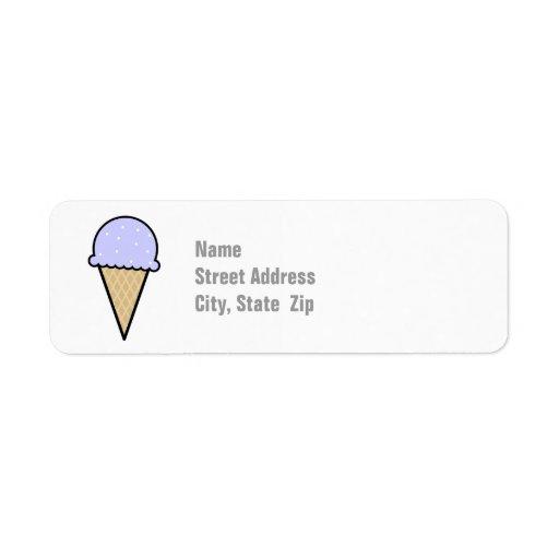 Cono de helado azul de la lavanda etiquetas de remite