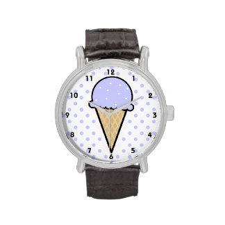 Cono de helado azul de la lavanda relojes