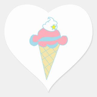Cono de helado azul rosado de la estrella del pegatina en forma de corazón