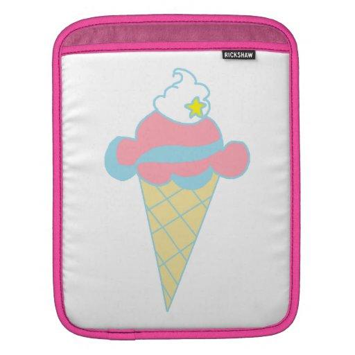Cono de helado azul rosado de la estrella del remo manga de iPad