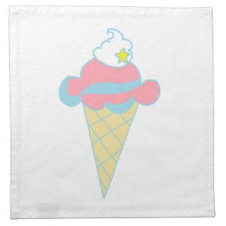 Cono de helado azul rosado de la estrella del remo servilleta de papel