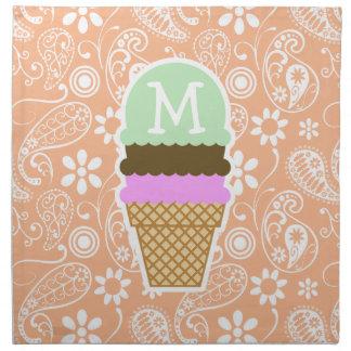 Cono de helado; Color Paisley del albaricoque; Flo Servilletas Imprimidas