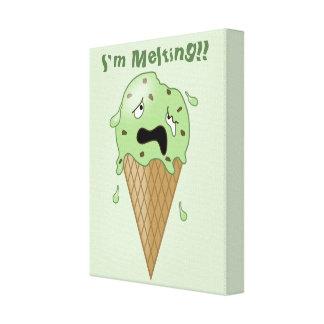 Cono de helado de fusión del dibujo animado (estoy impresiones en lona
