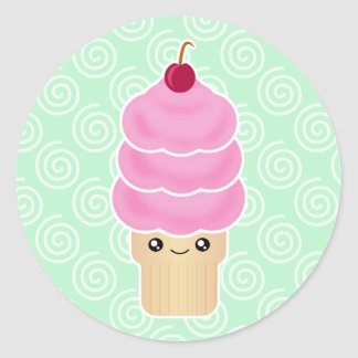 Cono de helado de Kawaii Pegatina Redonda