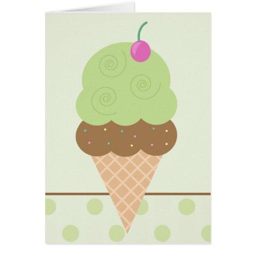 Cono de helado de la cal tarjeta de felicitación